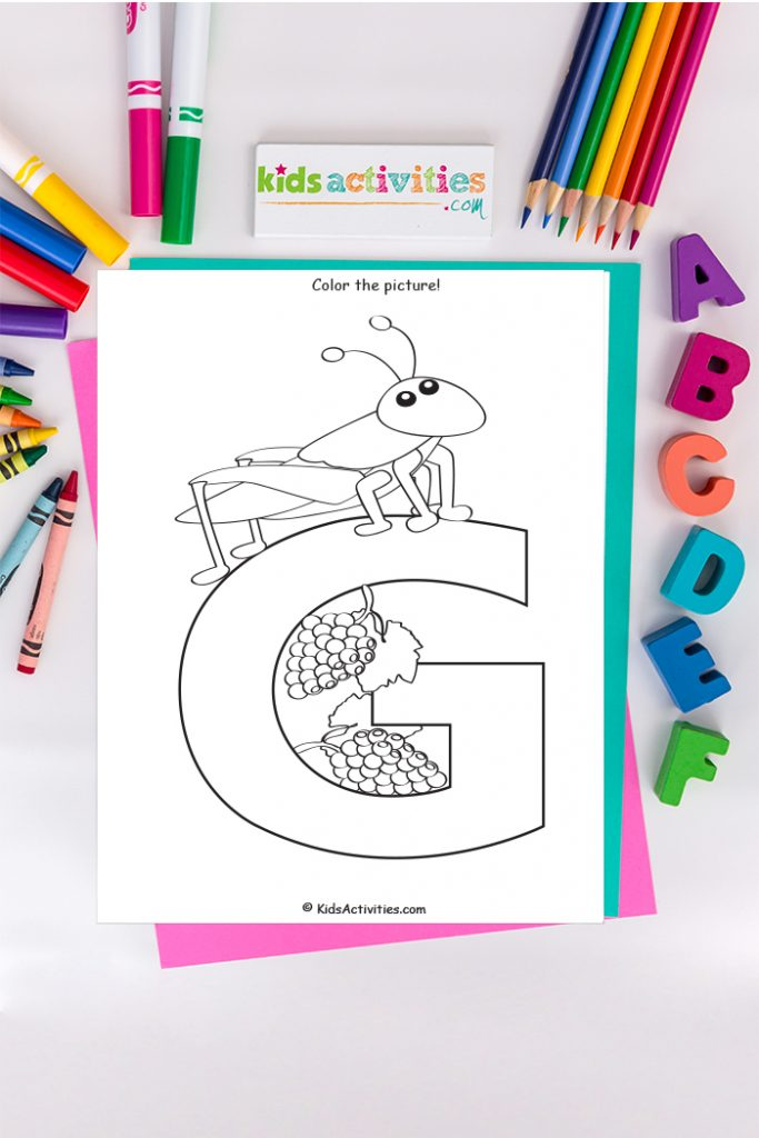 Letter G coloring page - capital letter G with grasshopper and grapes - on background of ABC's markers and crayons