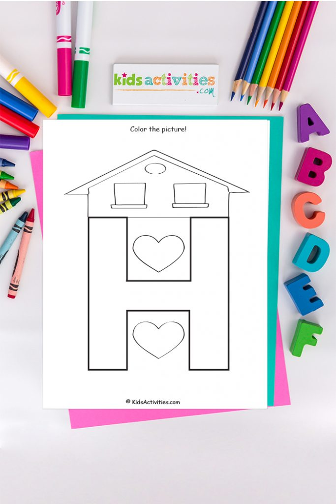 Letter H coloring page from Kids Activities Blog with a house roof and two hearts on a background of the ABC's crayons and markers