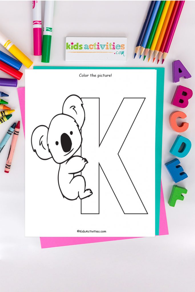 letter k coloring page - color the picture! - koala bear clinging to capital k - Kids Activities Blog  with ABC's crayon and markers