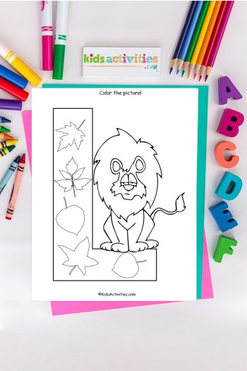 letter l coloring pages Kids Activities Blog with lion and leaves on background of ABC's crayons and markers