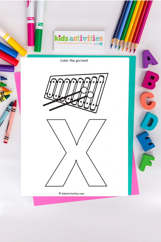 letter x coloring page Kids Activities Blog - color the picture of capital letter  x with xylophone on background of ABCs crayons markers and colored pencils
