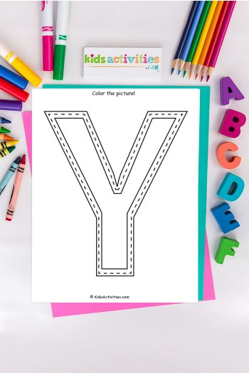 Letter y coloring page Kids Activities Blog - color the picture of the capital letter Y with yarn on background of ABCs and colored pencils crayons and markers