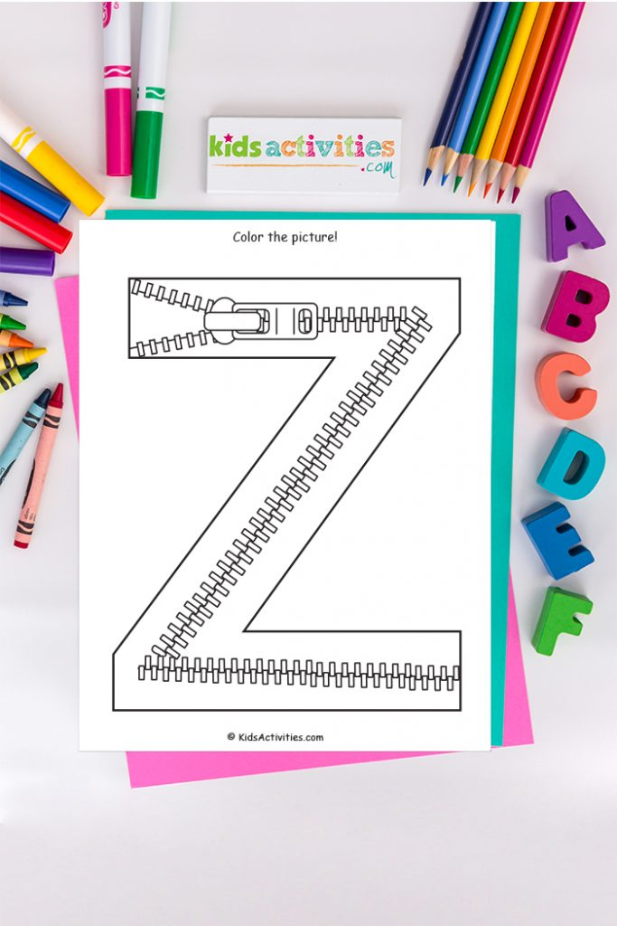 Letter z coloring page Kids Activities Blog - color the picture of capital letter Z with zipper on background of crayons colored pencils and markers with ABCs