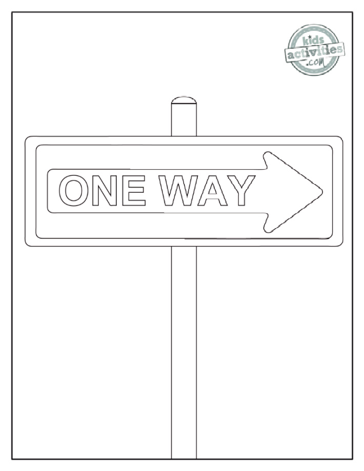 One Way road sign on post - words ONE WAY written on an arrow - Kids Activities Blog