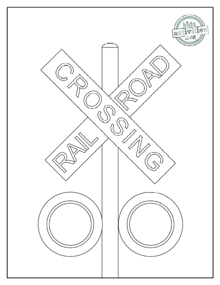Railroad crossing sign on a post with lights underneath coloring page for kids - Kids Activities Blog