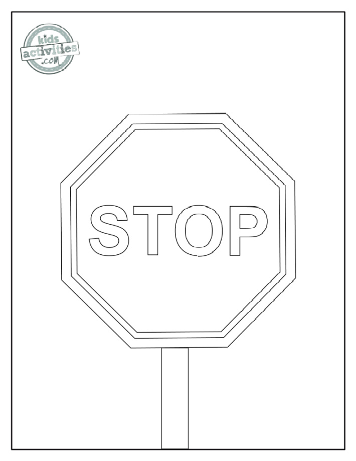 Stop sign coloring page - close up with the letters STOP with a lot of space for red color