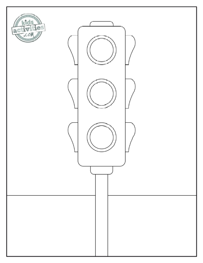 Traffic light coloring page - red, yellow & green lights waiting for color on a sign post - Kids Activities Blog