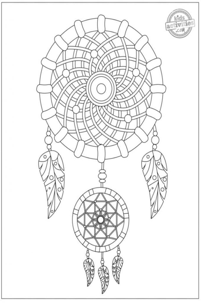 dreamcatcher coloring page for adults