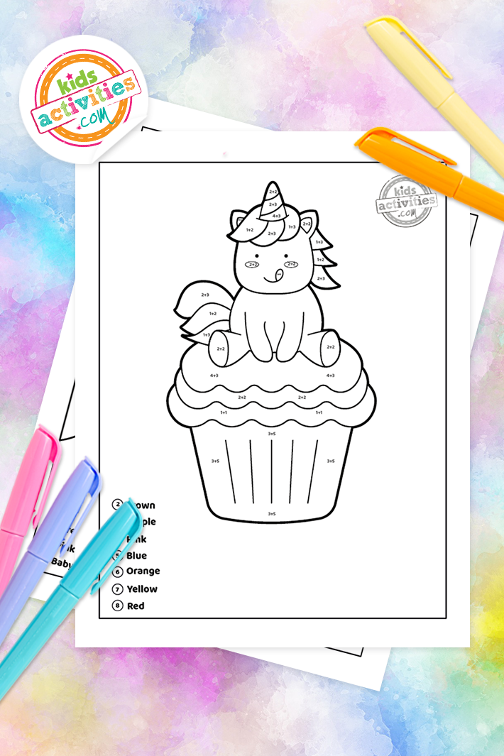 Unicorn color by number addition worksheets