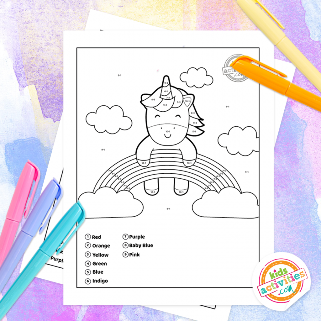 unicorn subtraction color by number coloring pages