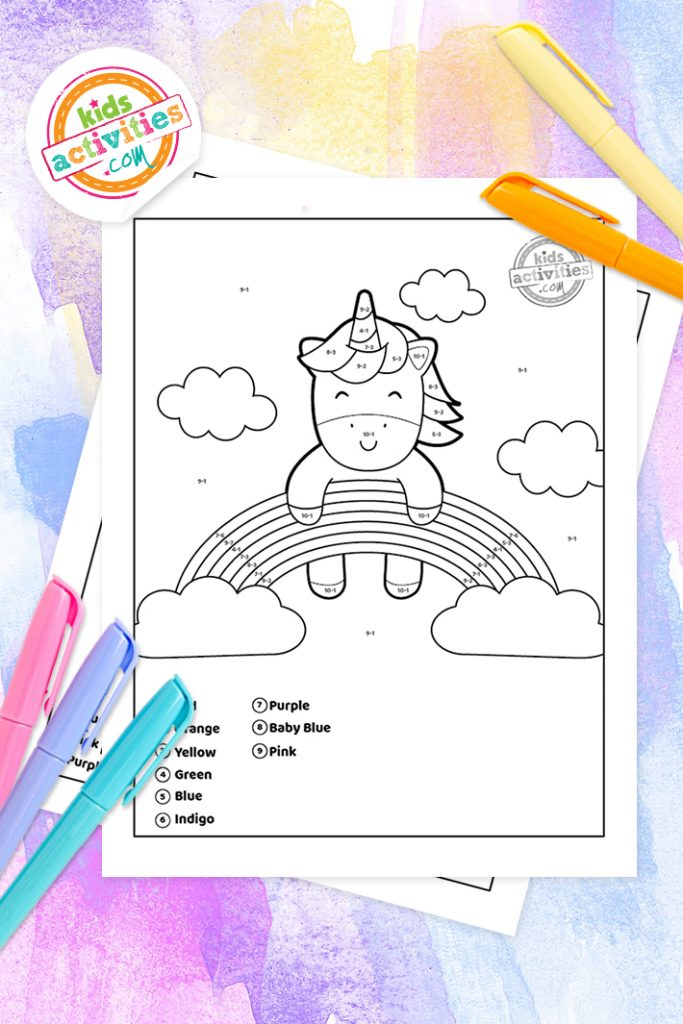 color by number subtraction worksheets