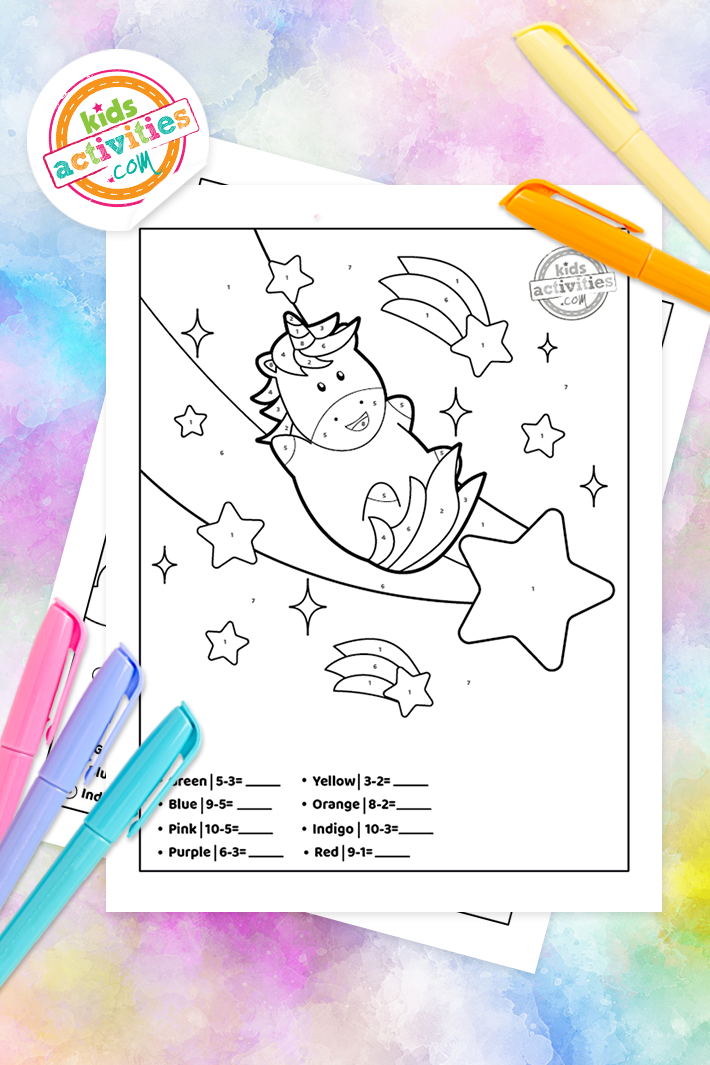 Unicorn color by number subtraction worksheets