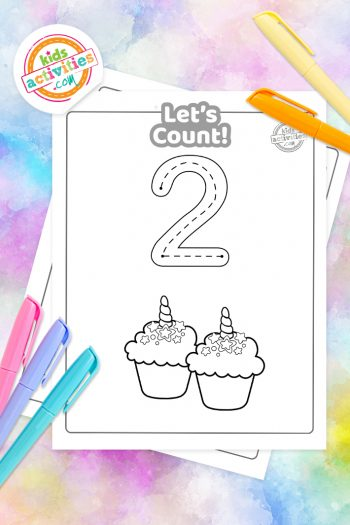 Unicorn Counting Coloring Pages