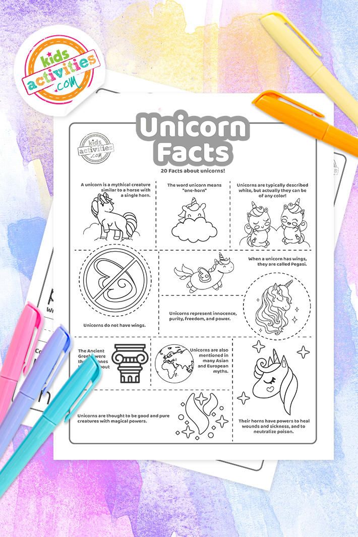 20 Awesome Unicorn Facts For Kids + Coloring Pages