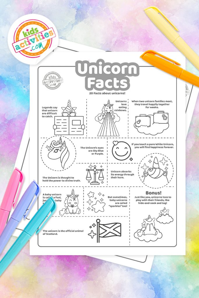 Unicorn Facts Coloring Page