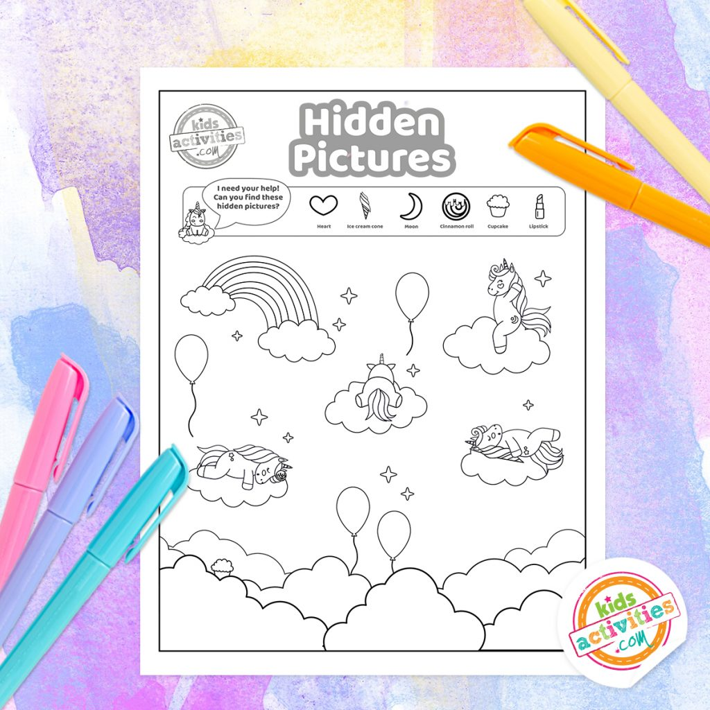 Unicorn Hidden Pictures Coloring Page