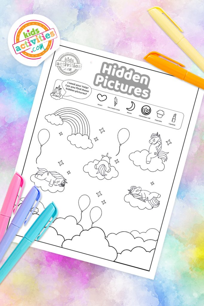 unicorn hidden pictures printable