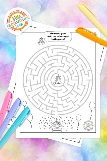 Unicorn Mazes Coloring Pages