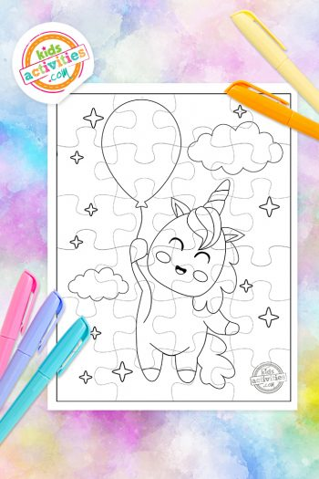 Unicorn Puzzle Coloring Page