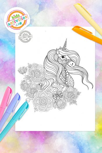 Unicorn Zentangle Coloring Page