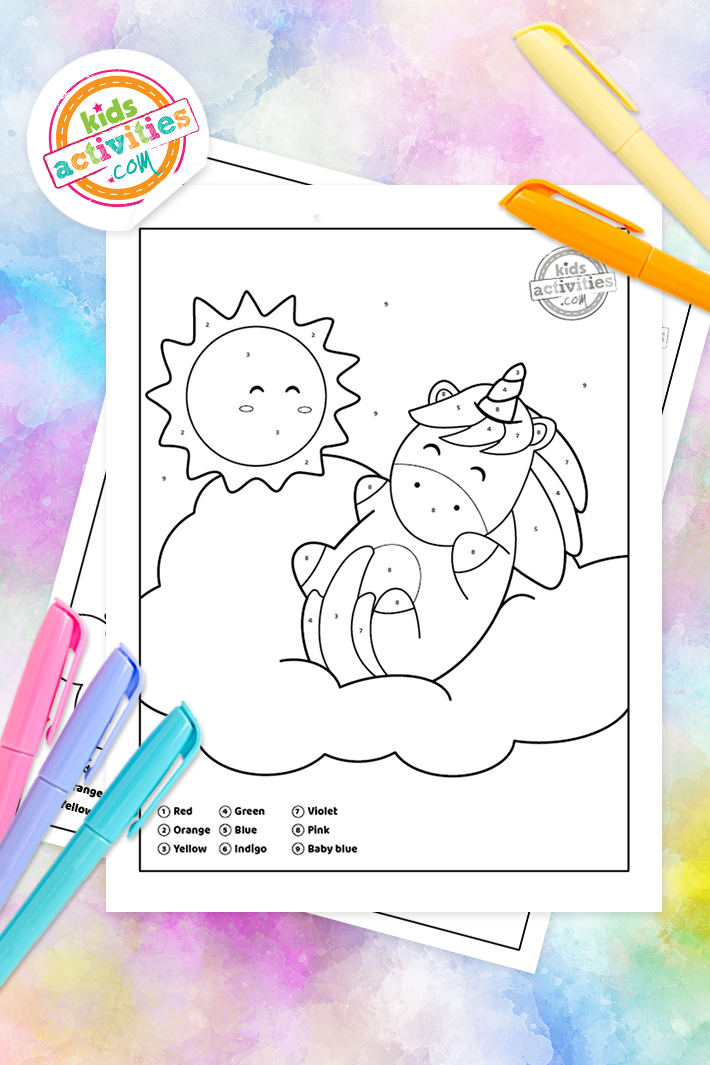 Beautiful Unicorn Color By Number Coloring Pages