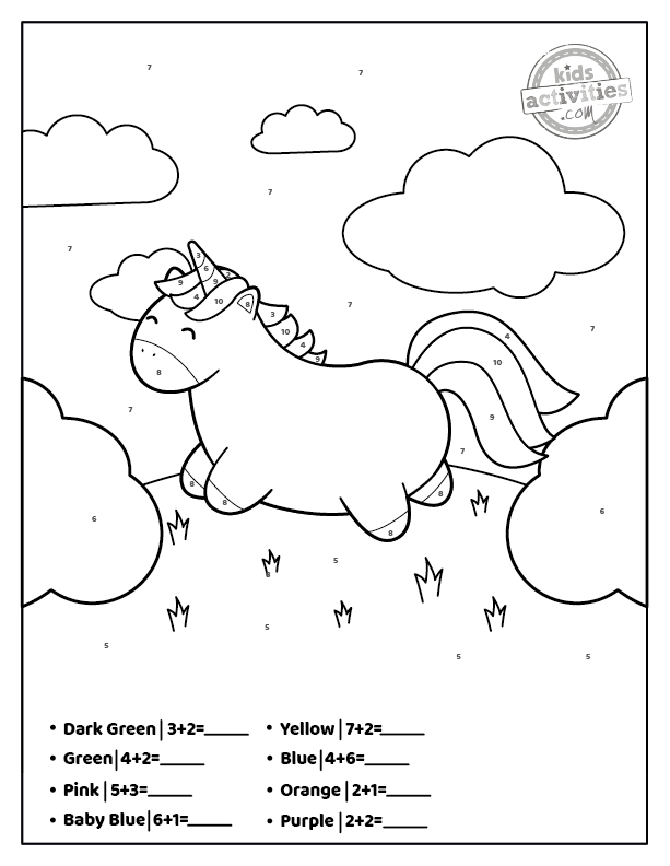 unicorn addition color by number printable