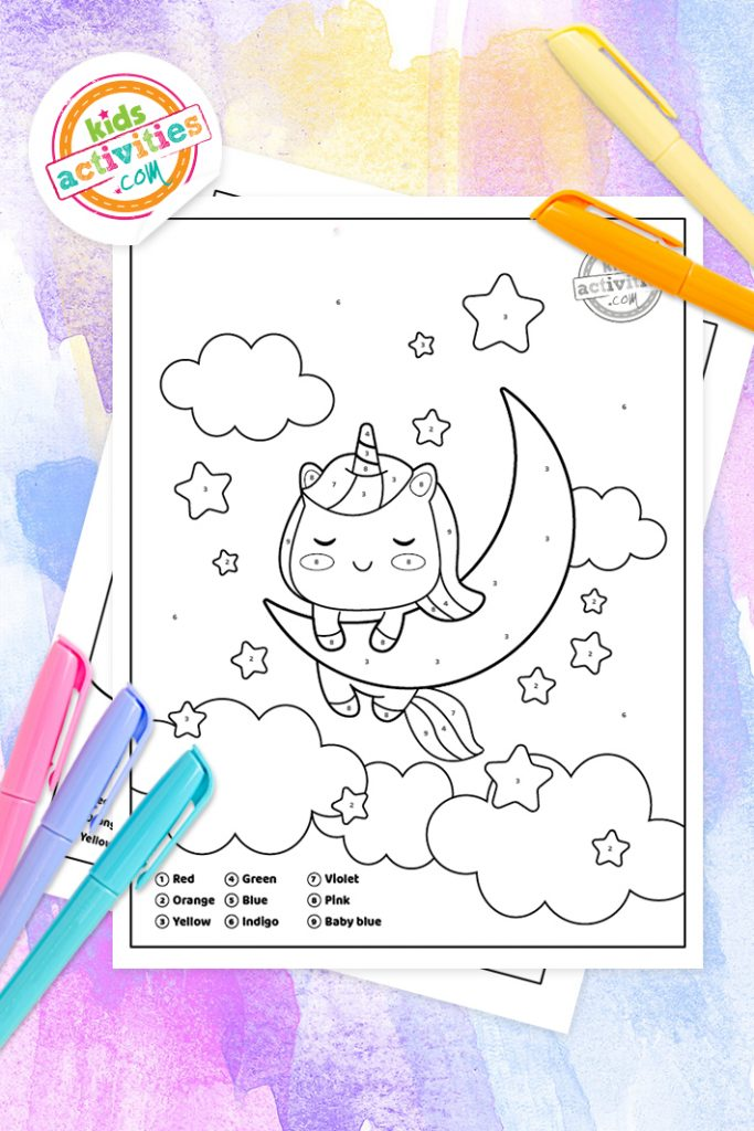 color by number unicorn pages