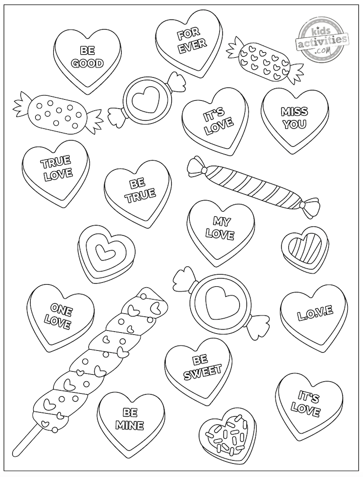 Valentine heart coloring page scattered with Valentine heart candies with messages on them, mixed with other small wrapped candies