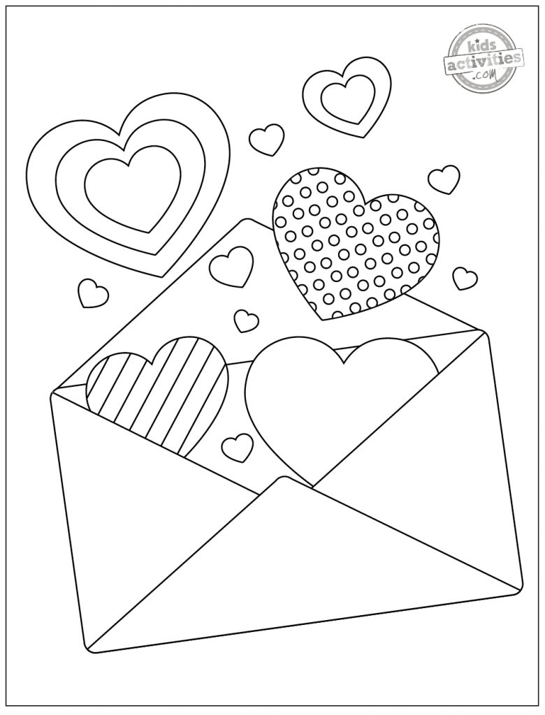 Valentine heart coloring page pdf of large envelope with heart valentines spilling out - all in black and white line drawing for coloring