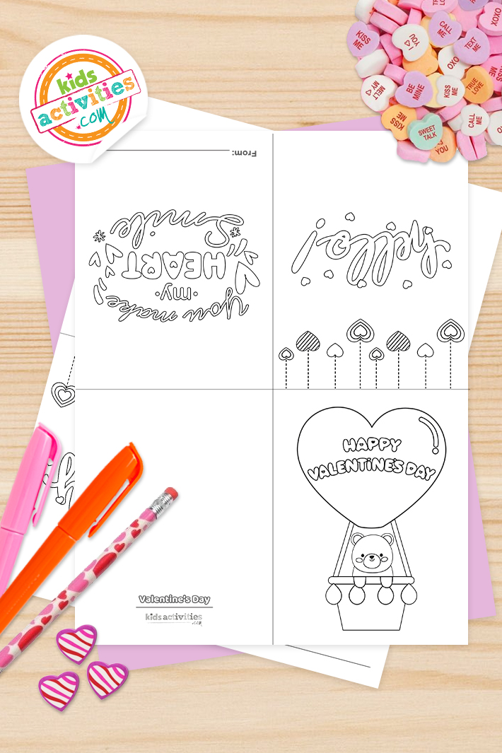 Cute Valentine Coloring Cards – Free Printable!