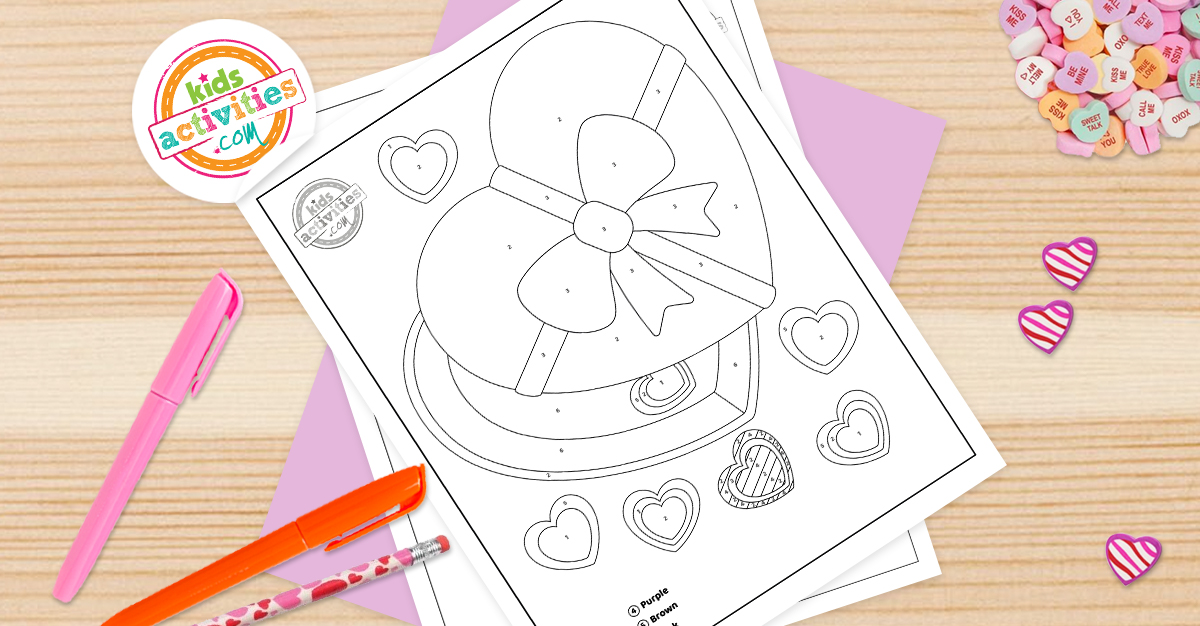 Valentine Color By Number Coloring Pages