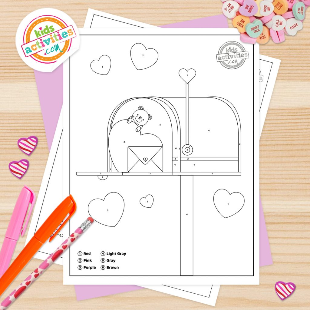 valentines day coloring pages by number