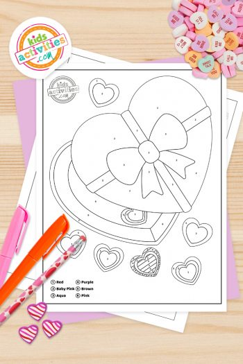 Valentines Color by number Coloring Pages