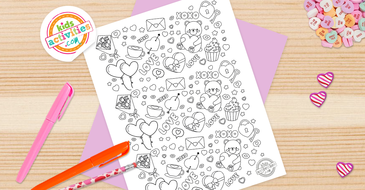Free Printable Valentine Doodle Coloring Page For Kids