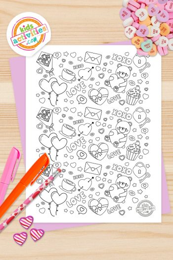 Valentines Doodle Coloring Page