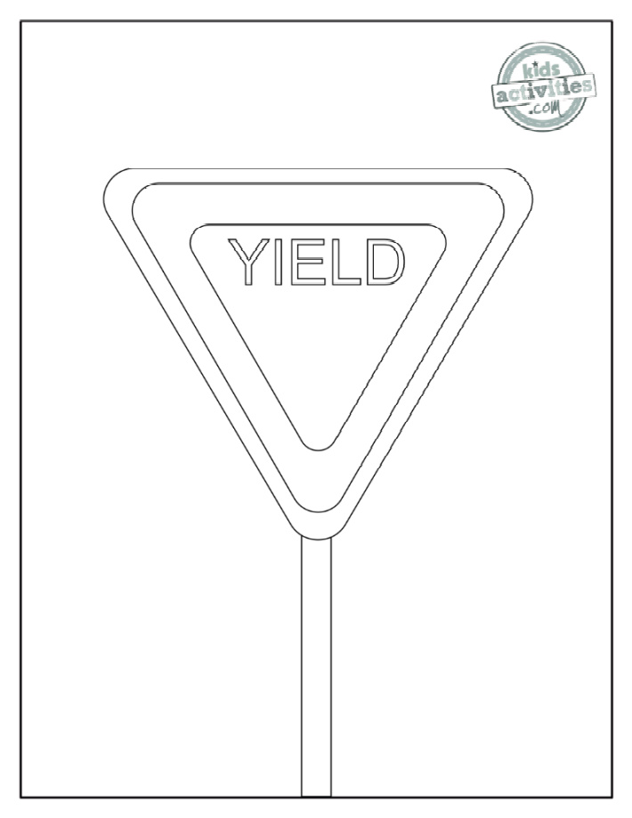 Yield sign coloring page - the word YIELD on a triangular sign with a post - Kids Activities Blog
