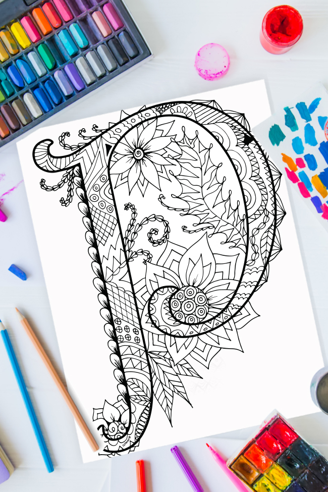 Zentangle alphabet coloring pages - letter p zentangle design on background of paint, colored pencils and art supplies