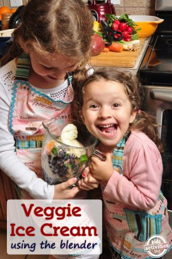 veggie blender ice cream recipe created by kids - two girls holding blender