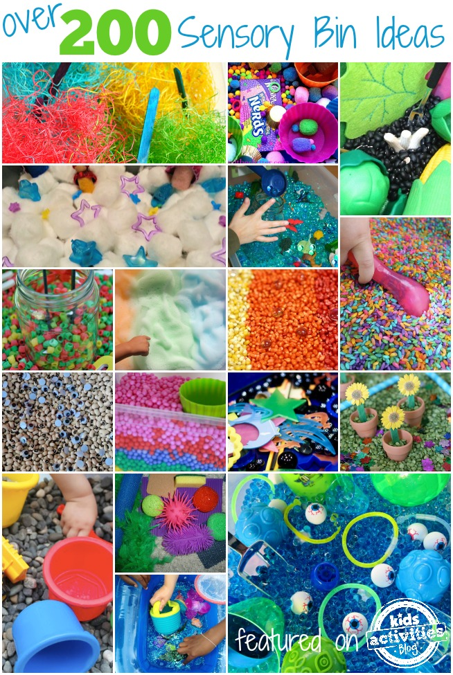 1 year old sensory activity ideas include sensory bins - here is a collection of over 200 ideas here at kids activities blog - about 15 pictured here