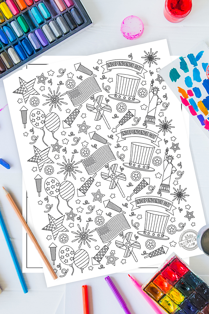 4th of July Doodle Coloring Page