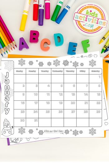Calendar 2022 Coloring Pages