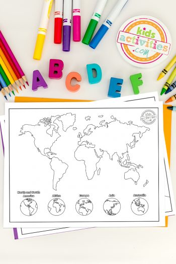 Globe Coloring Pages