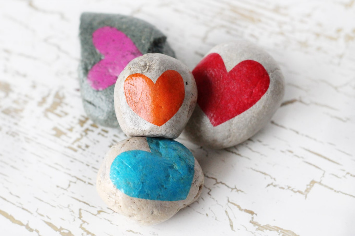 Simple painted rocks with hearts on them from Fireflies and Mudpies