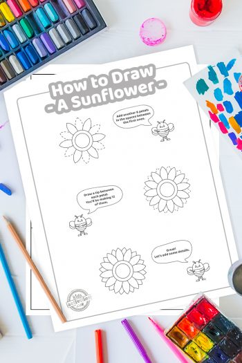 How To Draw a Sunflower coloring page