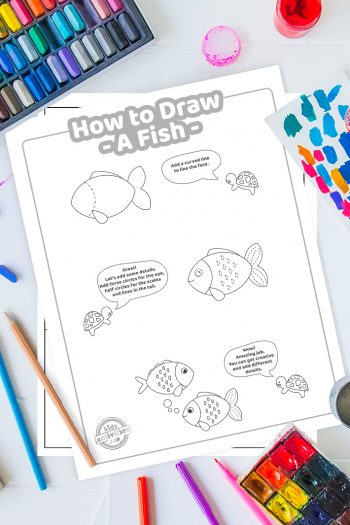 How To Draw a fish coloring page