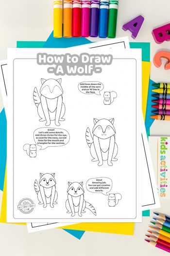 How To Draw a wolf coloring page