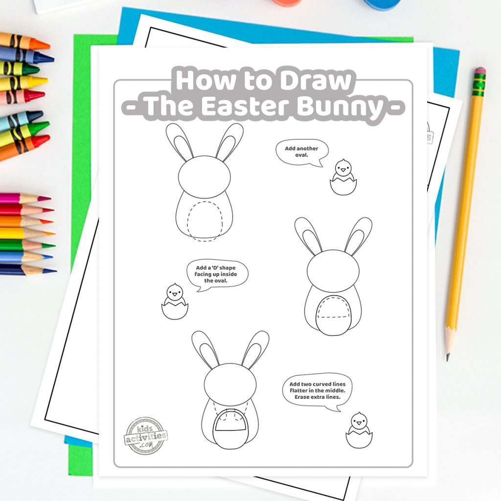 how to draw the easter bunny tutorial