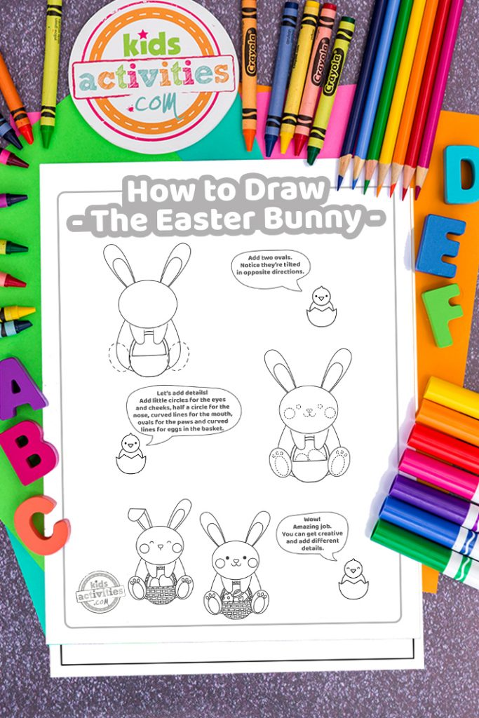 step by step how to draw the easter bunny