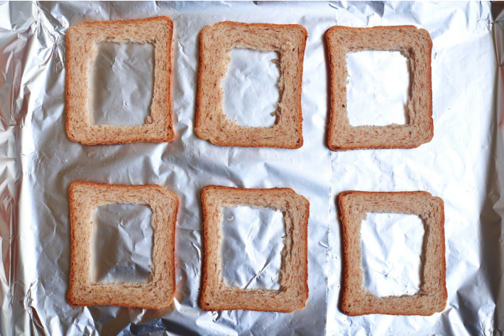 Life hacks for kids moms and the home - Kids Activities Blog  - toast on cookie sheet with only crusts