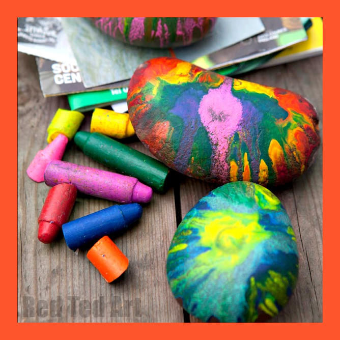 Colorful crayon painted rocks from Red Ted Ar